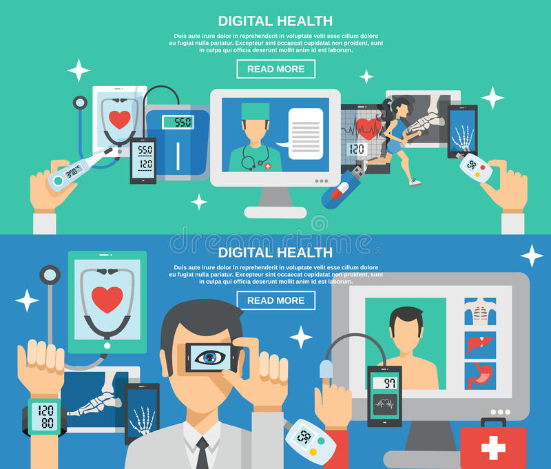 Cyfrowych zdrowie sztandaru set ilustracji