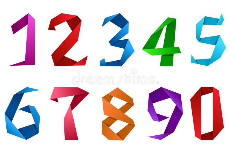 Cyfry i liczby w origami stylu ilustracji