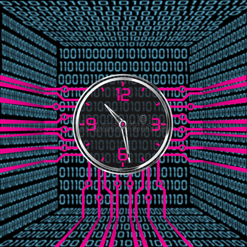 cyfry zegarowa cyfrowa pełnia dostaje właśnie leds prawy niepotrzebny up ilustracji