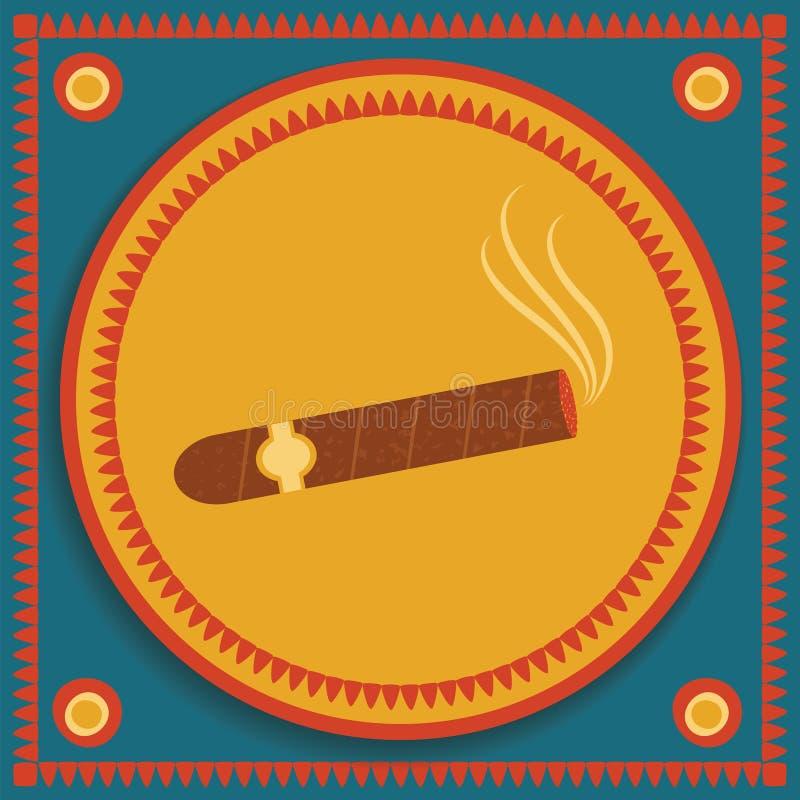 Cygaro na stylizowanym tle ilustracji