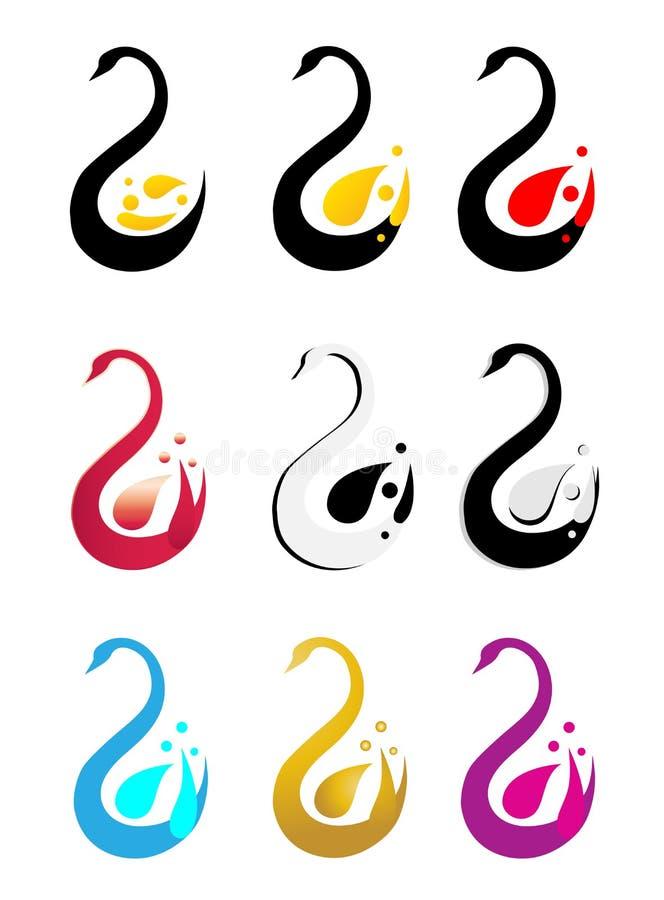 Cygne abstrait coloré, symbole réglé d'icône de logo de serpent illustration stock