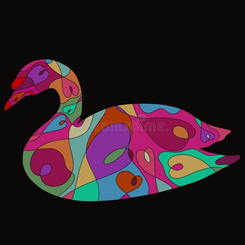 Cygne avec un modèle coloré aux coeurs sur un fond noir illustration libre de droits