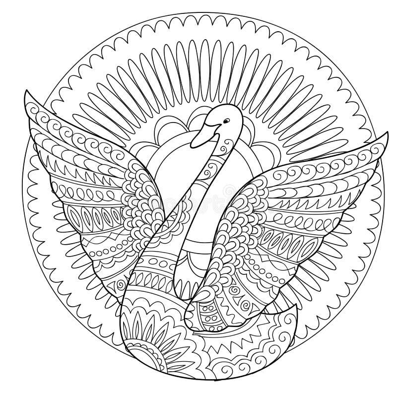 Cygne d'isolement décoré dans le style de boho illustration libre de droits