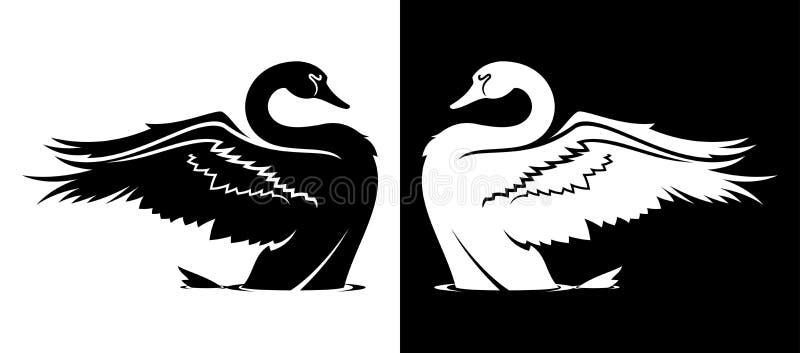 Cygne enlevant la silhouette illustration stock