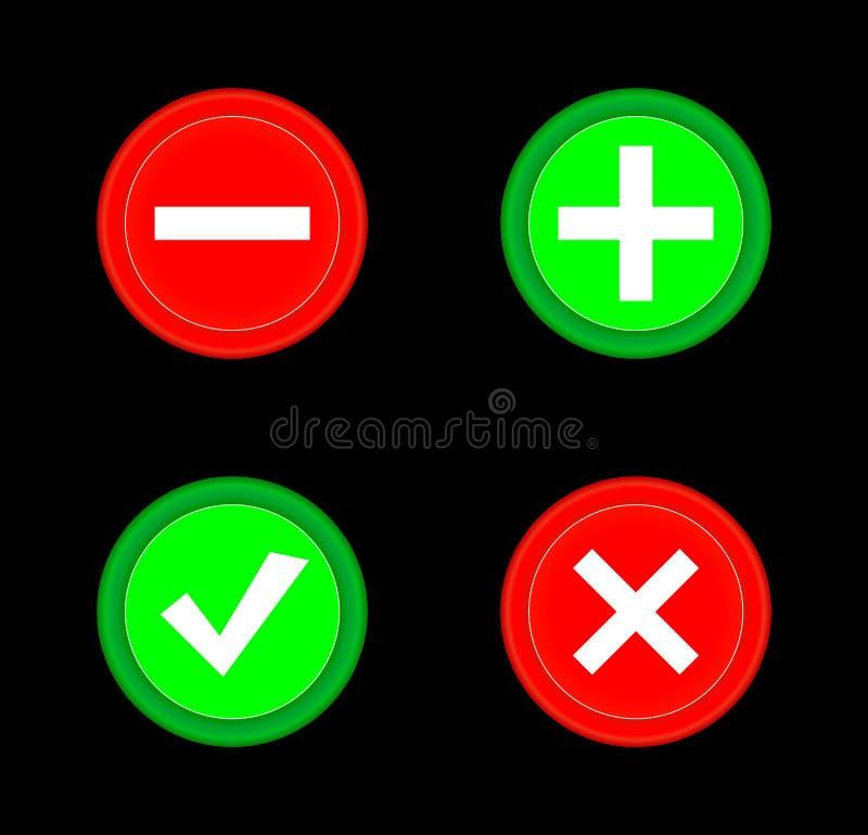 Cyka, krzyżuje, plus, minus ikony zieleni i czerwieni okręgu 3D ustalony guzik Dodaje, odwoływa, lub plus znaki na i minus guzika royalty ilustracja