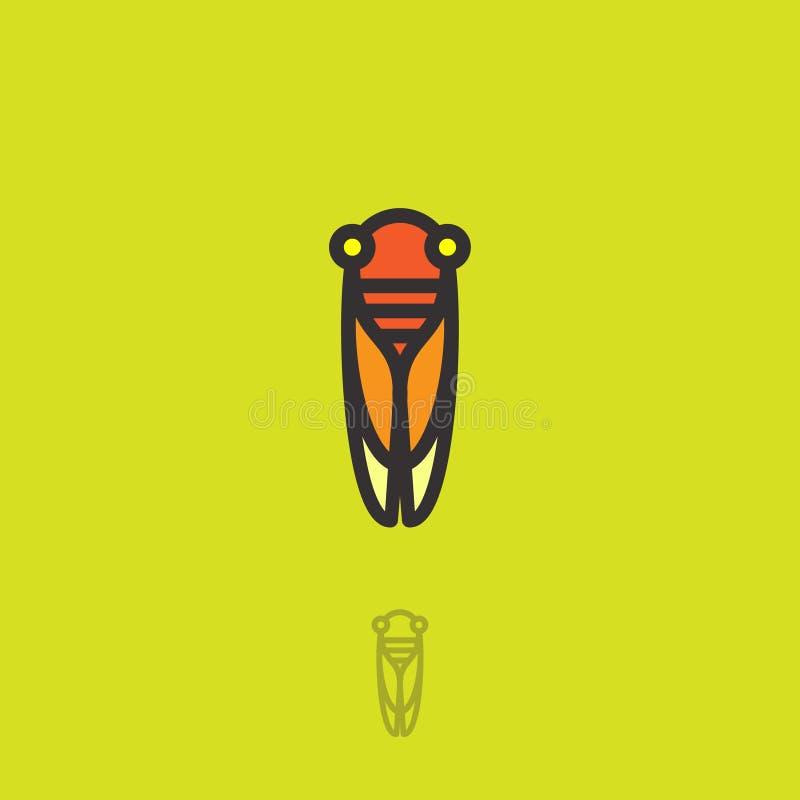 Cykady mieszkania logo Cykady ikona Liniowy logo Pomarańcze mała cykada na zielonożółtym tle ilustracja wektor
