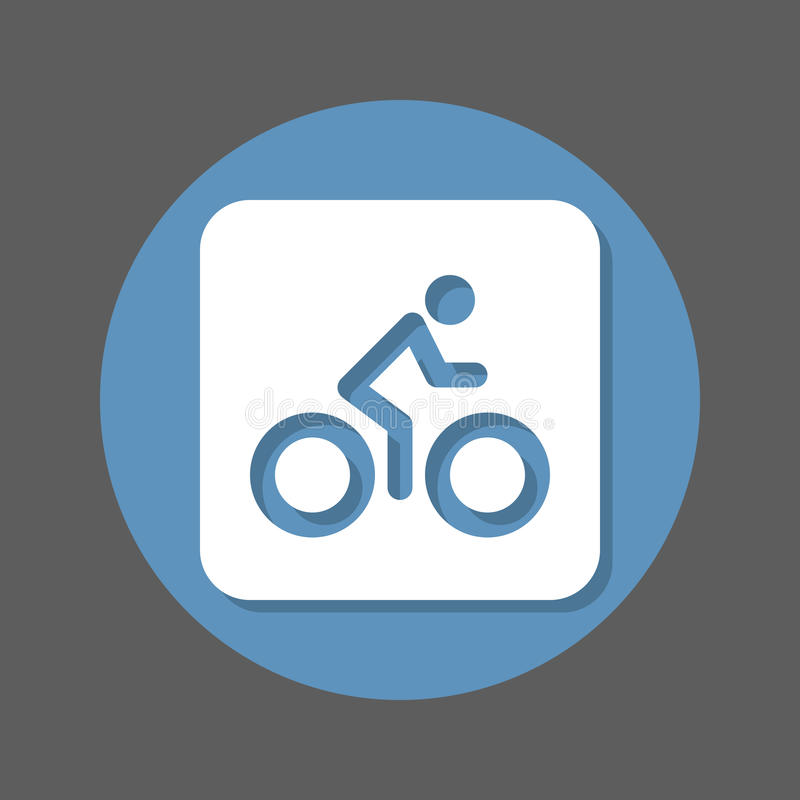 cykel Cykel som cyklar den plana symbolen Rund färgrik knapp, runt vektortecken med skuggaeffekt Plan stildesign royaltyfri illustrationer