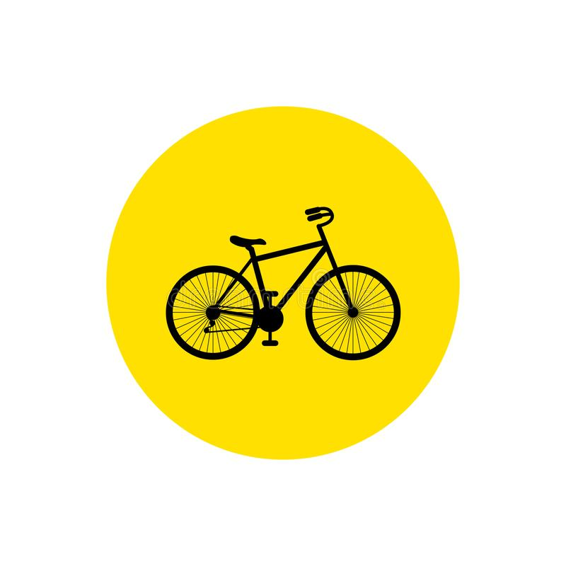 cykel Cykelsymbolsvektor Cykeltecken på den gula cirkeln som isoleras på vit bakgrund royaltyfri illustrationer