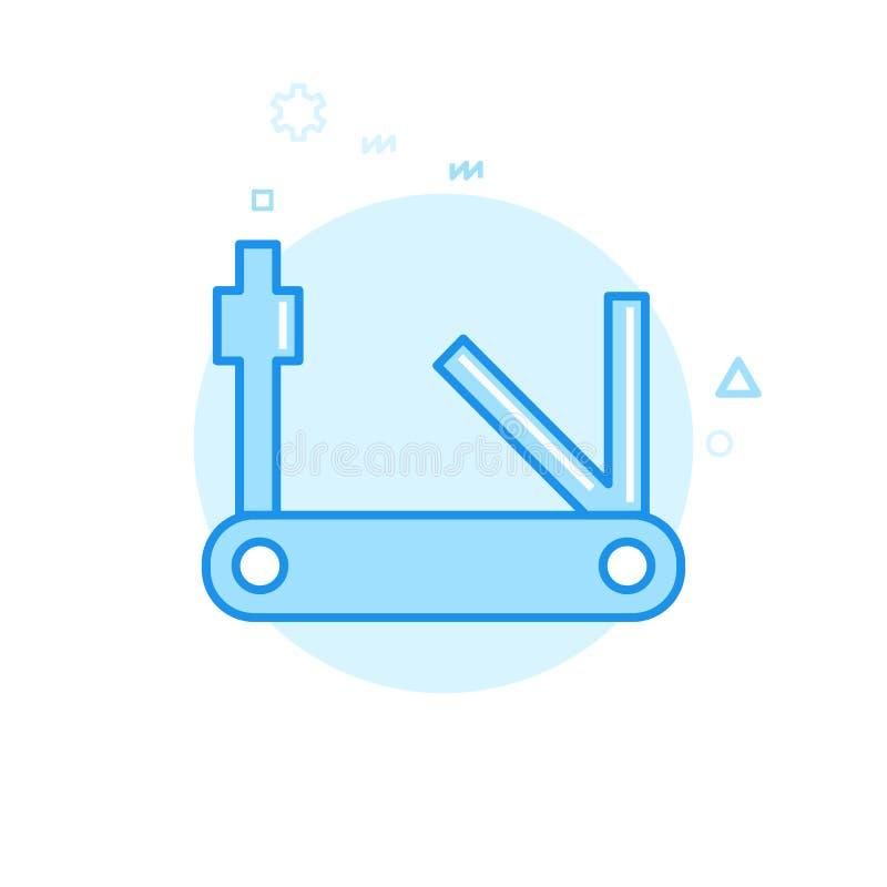 Cykel- eller cykelhjälpmedel, Multitool plan vektorsymbol, symbol, Pictogram, tecken Blå monokrom design Redigerbar slaglängd vektor illustrationer