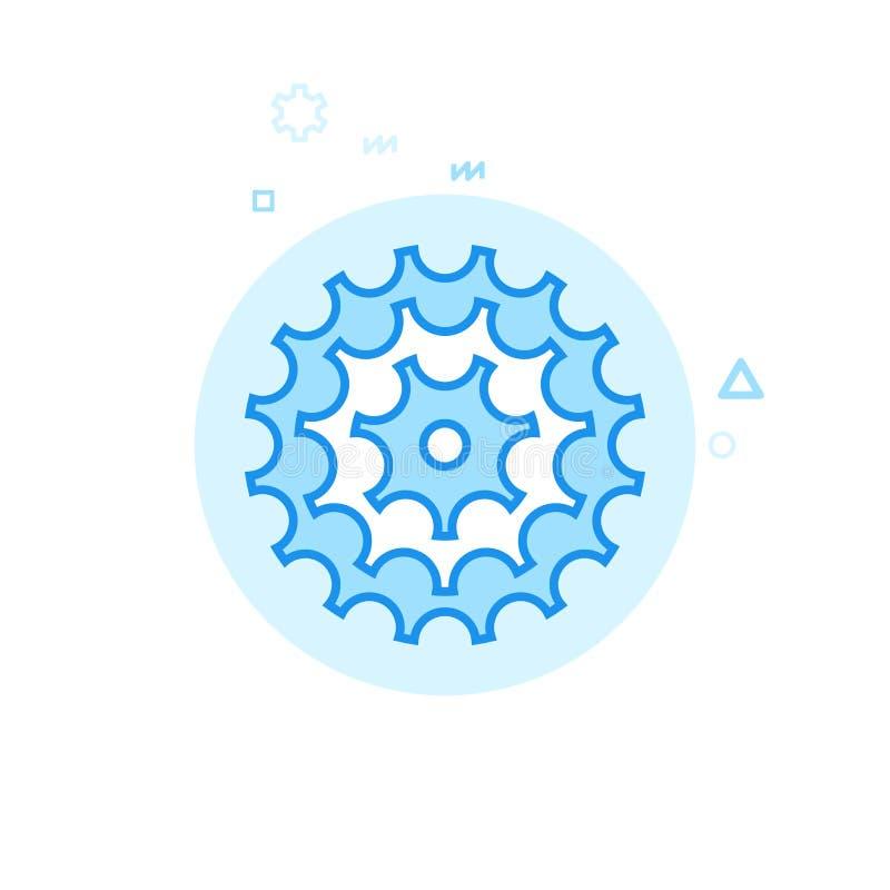 Cykel- eller cykelkassett, plan vektorsymbol för kugghjul, symbol, Pictogram, tecken Blå monokrom design Redigerbar slaglängd royaltyfri illustrationer