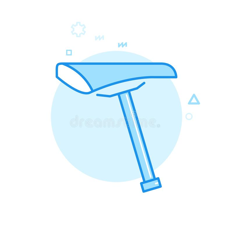 Cykel- eller cykelsadel och Seatpost plan vektorsymbol, symbol, Pictogram, tecken Blå monokrom design Redigerbar slaglängd stock illustrationer