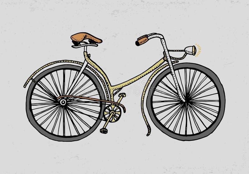 Cykel, cykel eller velocipede Bluen colors collage den inristade handen som dras i gammalt, skissar stil, tappningtransport vektor illustrationer