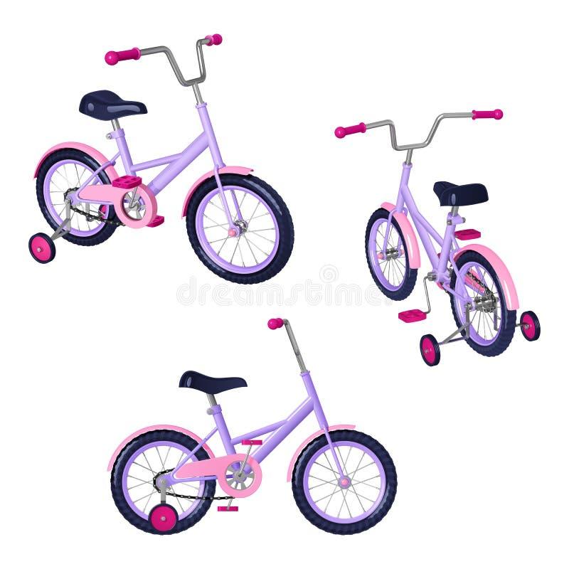 Cykel för barn` s med avtagbara utbildningshjul, rosa färger - lilan färgar vektor illustrationer