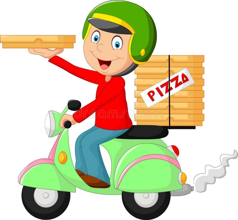 Cykel för motor för ridning för pojke för tecknad filmpizzaleverans stock illustrationer
