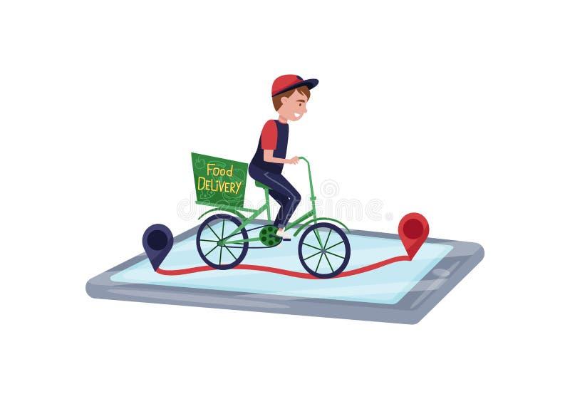 Cykel för ridning för mathemsändningarbetare Online-beställning som spårar vid smartphonen Plan vektordesign stock illustrationer