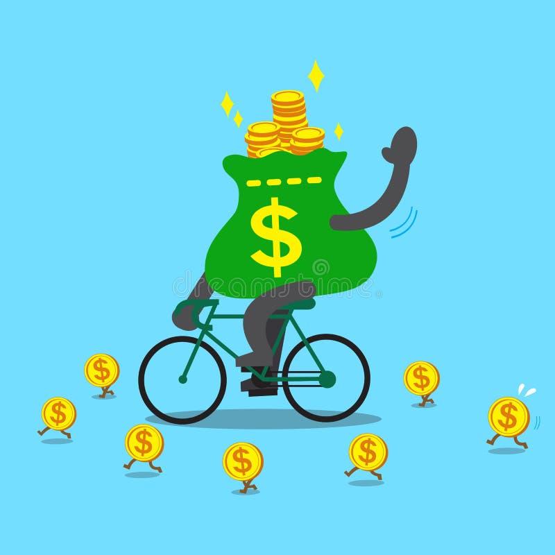 Cykel för ritter för tecknad filmpengarpåse stock illustrationer