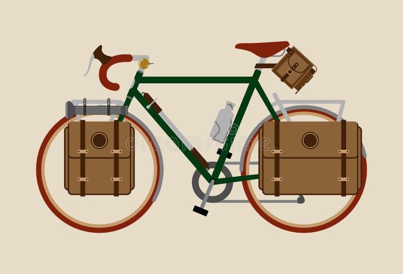 Cykel för tappning för cykelillustration som grafisk cyklar turnera mörker - gräsplan stock illustrationer