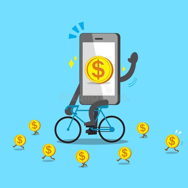 Cykel för tecknad filmsmartphoneritter med mynt royaltyfri illustrationer