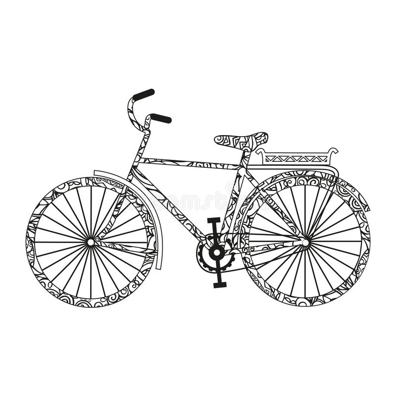 Cykel F?rgsida Gulligt svartvitt klottra Vektor som isoleras p? vitbakgrund vektor illustrationer