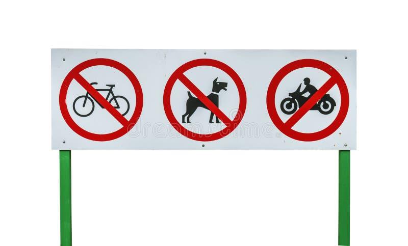 Cykel, hund och motorcykel förbjudit tecken arkivbilder