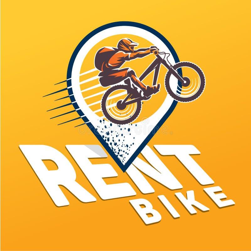 Cykel Hyraemblem royaltyfri illustrationer