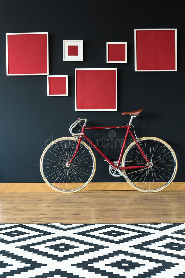 Cykel i lägenhet fotografering för bildbyråer