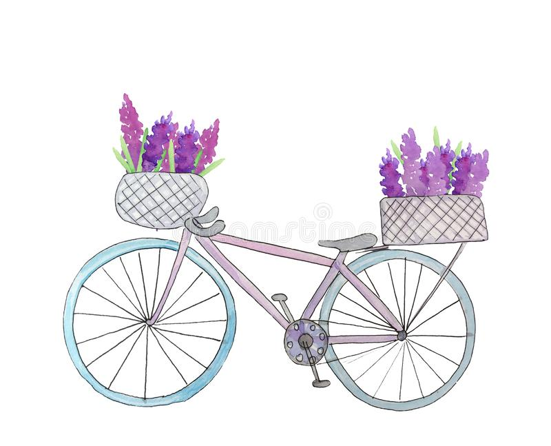 Cykel med blommor i korgen royaltyfri illustrationer