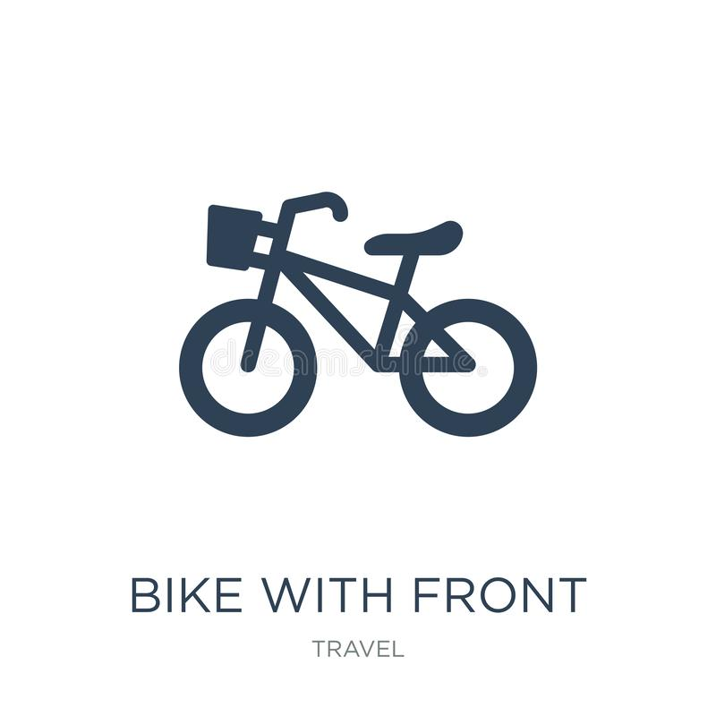 cykel med den främre korgsymbolen i moderiktig designstil cykel med den främre korgsymbolen som isoleras på vit bakgrund cykel me vektor illustrationer