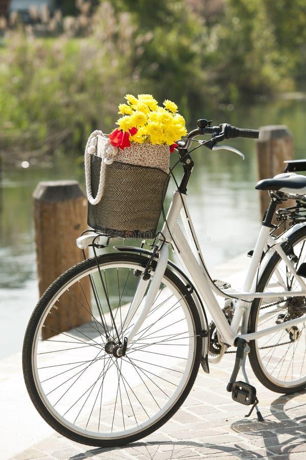 Cykel med korgen och blommor royaltyfri foto