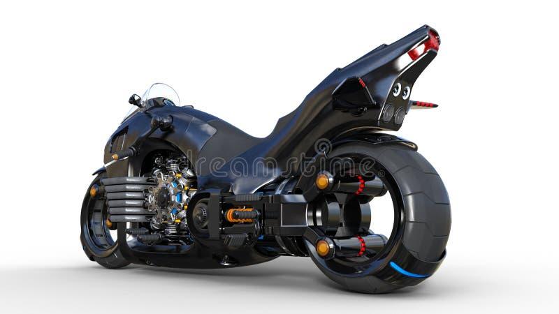 Cykel med krommotorn, svart futuristisk motorcykel som isoleras på vit bakgrund, bakre sikt, 3D för att framföra royaltyfri illustrationer
