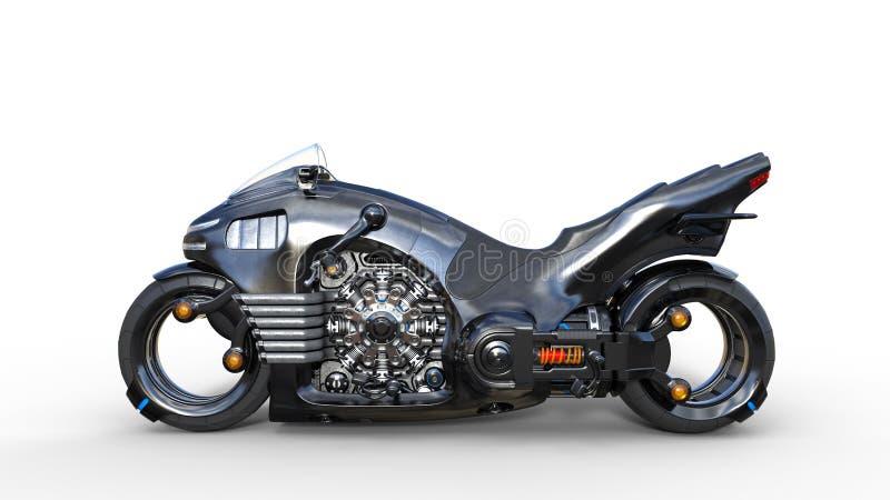 Cykel med krommotorn, svart futuristisk motorcykel som isoleras på vit bakgrund, sidosikt, 3D för att framföra royaltyfri illustrationer