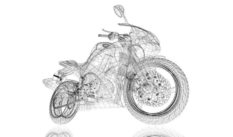 Cykel motorcykel, modell 3D royaltyfri illustrationer