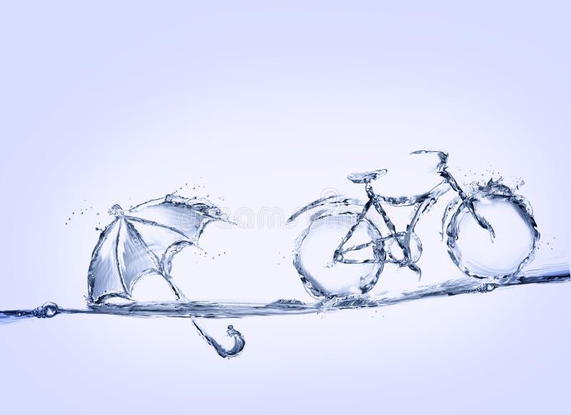 Cykel och paraply för blått vatten royaltyfri fotografi