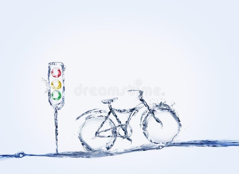 Cykel och trafikljus arkivbilder
