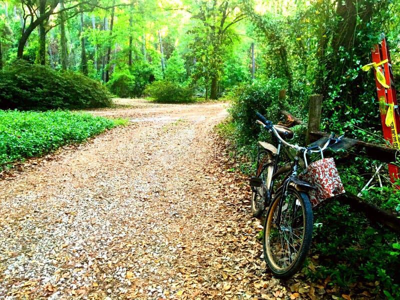 Cykel på ett staket arkivfoton