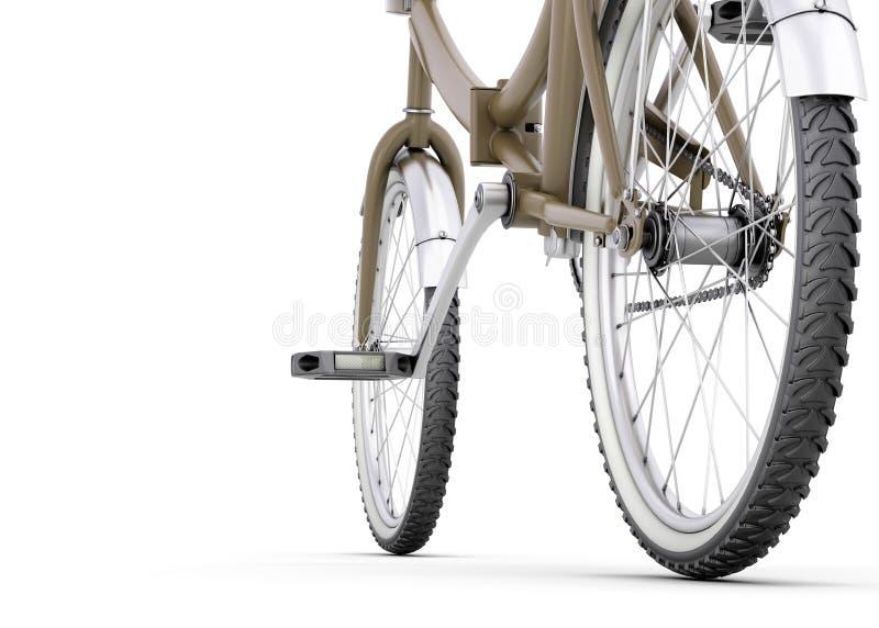 Cykel som är nära upp på en vit royaltyfri illustrationer