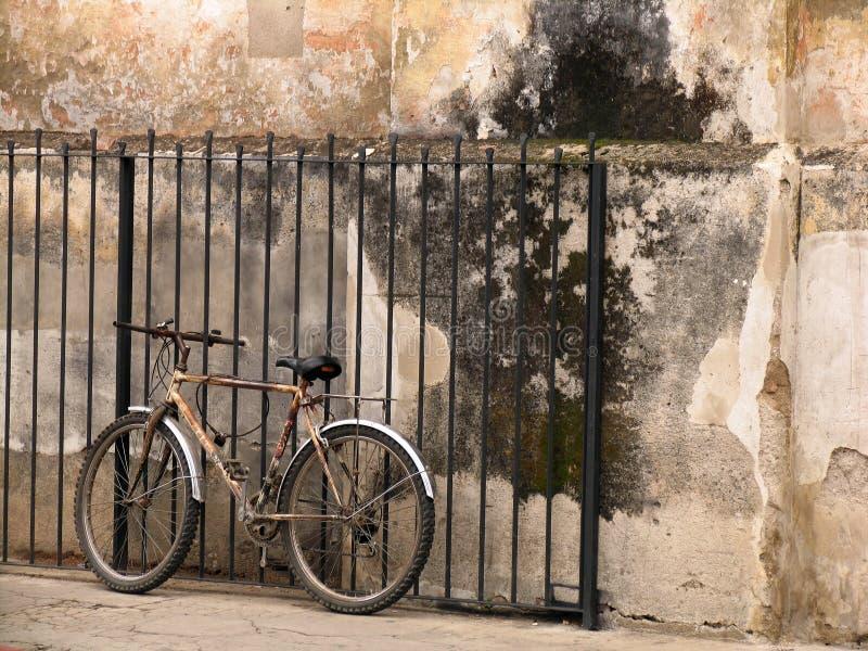 cykel som därefter är gammal till väggen royaltyfri bild