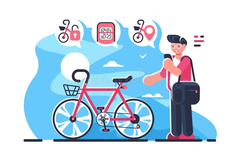 Cykel som delar systemstationen på stadsgatan stock illustrationer