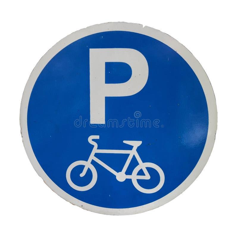 Cykel som parkerar symboltecknet som isoleras p? vita bakgrunder royaltyfria foton