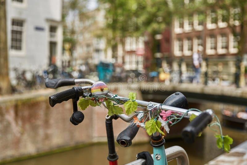 Cykel som populär väg av transport i parkerad Amsterdam Nederländerna och inlåst framdel av det traditionella huset i Holland royaltyfria bilder