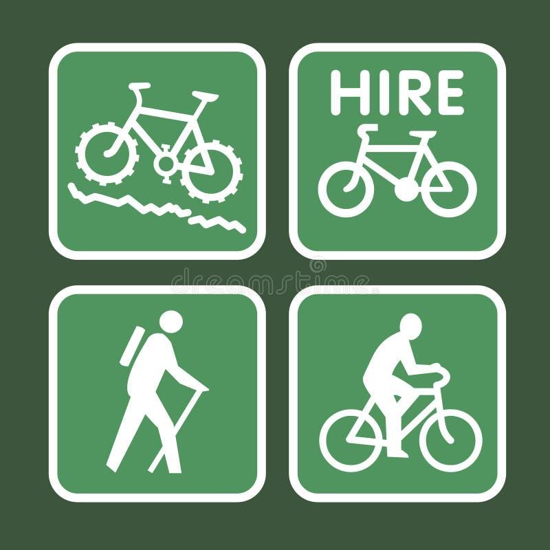 cykelbergtecken stock illustrationer