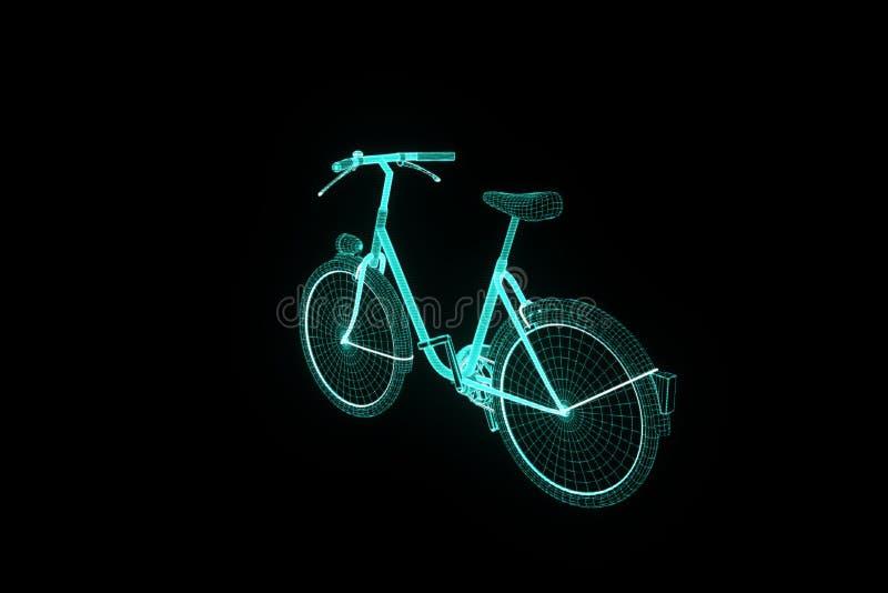 Cykelcykel i hologramWireframe stil Trevlig tolkning 3D stock illustrationer