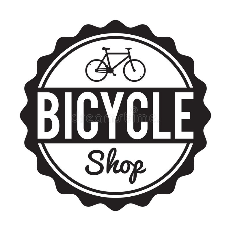 Cykelemblem/etikett Den beställnings- hipstercykeln shoppar hyra royaltyfri illustrationer