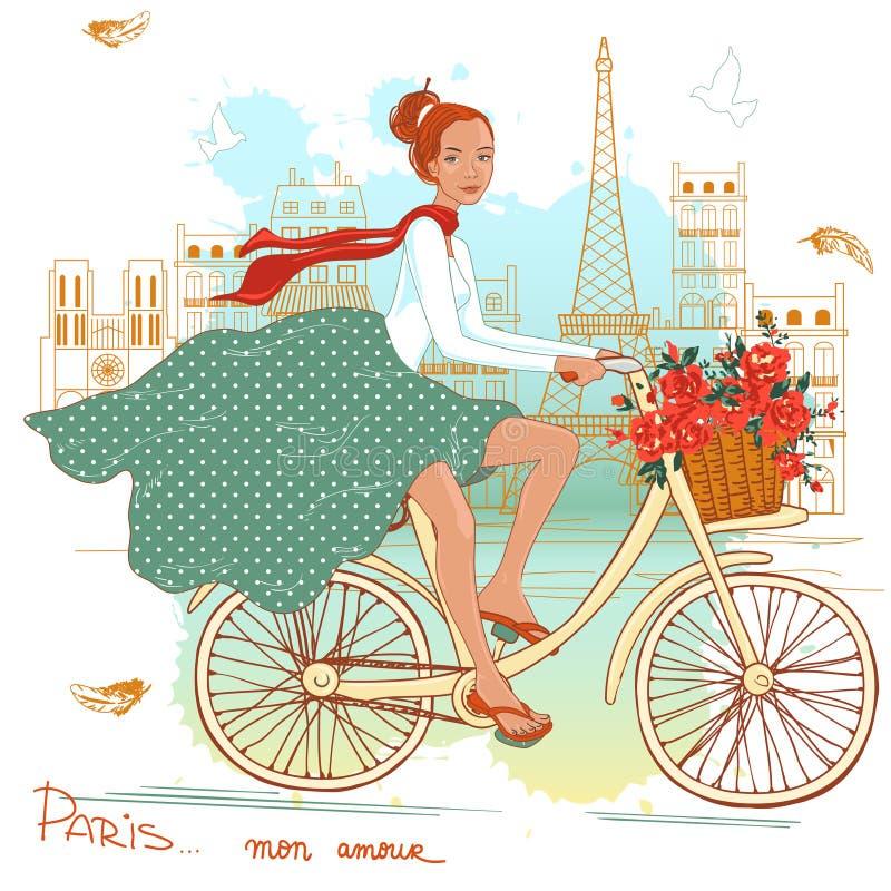 Cykelflicka stock illustrationer