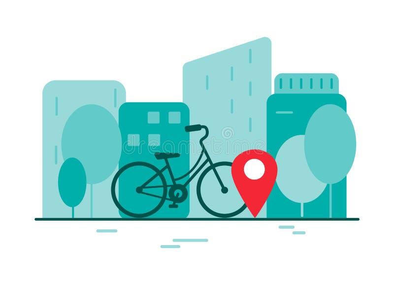 Cykelhyra i en storstad Gr?nt energibegrepp royaltyfri illustrationer