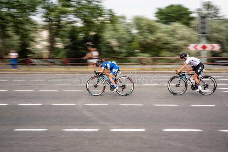 Cykellopp på gatan Europén 2 spelar 2019 i Minsk royaltyfria foton