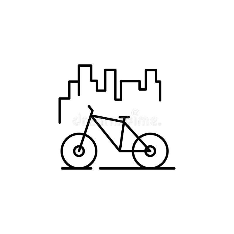 cykeln övning, parkerar symbolen Beståndsdel av landskapet för mobil begrepps- och rengöringsdukappsillustration Tunn linje symbo stock illustrationer