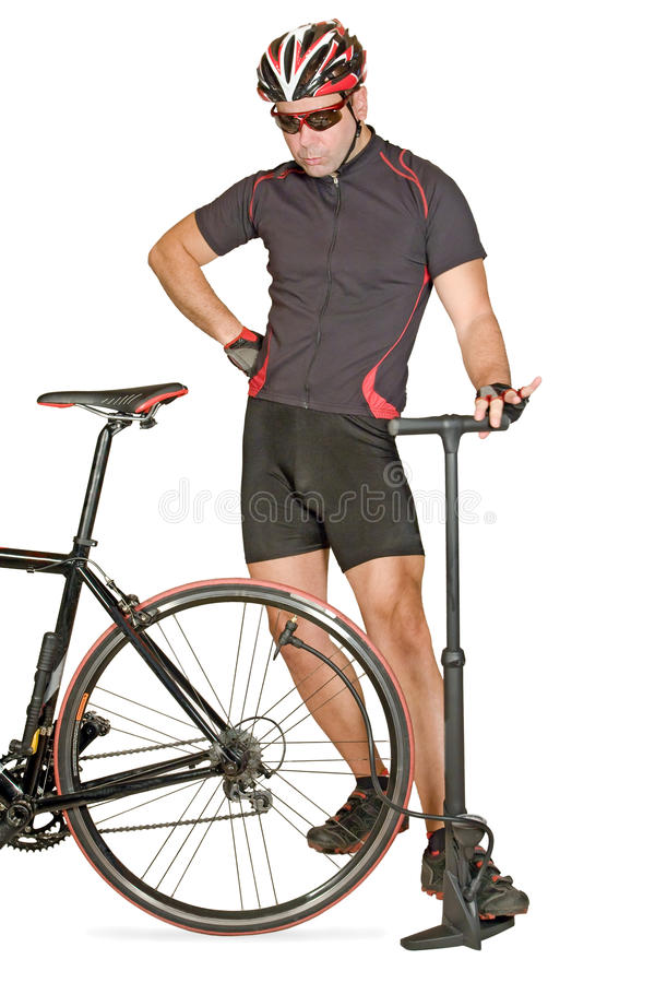 cykeln inflate däck arkivfoto
