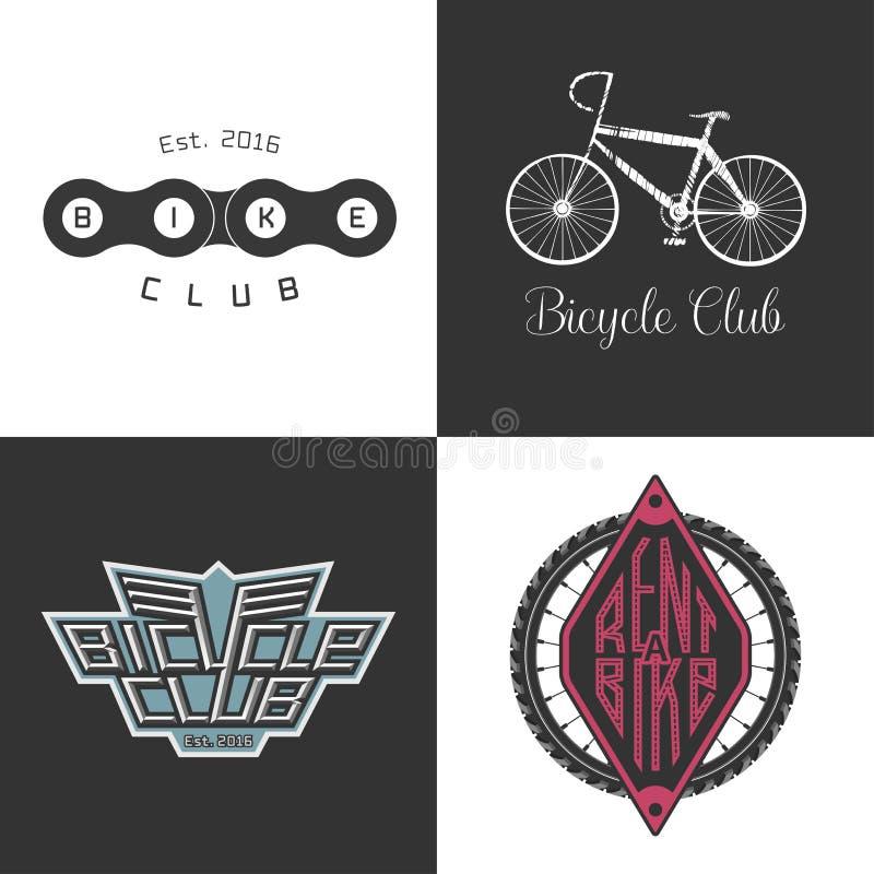 Cykeln shoppar, hyr en cykel, cykelreparationsuppsättning av vektorlogoen, symbol royaltyfri illustrationer