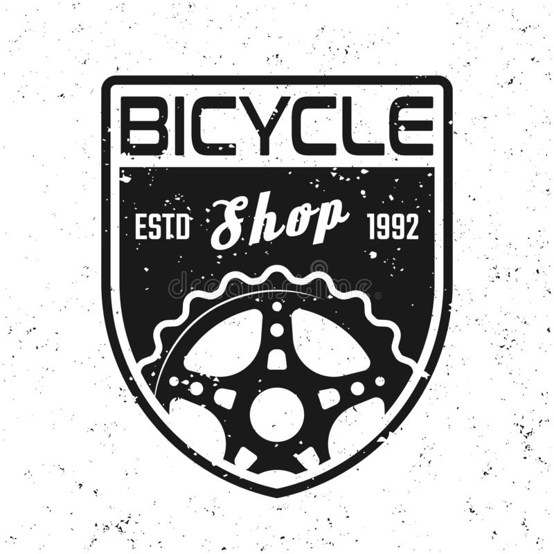 Cykeln shoppar vektorsköldemblemet, emblemet, etikett vektor illustrationer